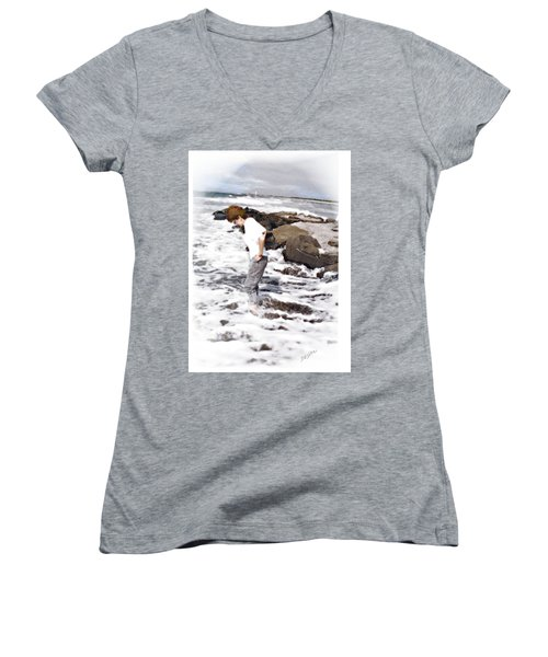 Women's V-Neck T-Shirt (Junior Cut) featuring the photograph Tempting by Desline Vitto