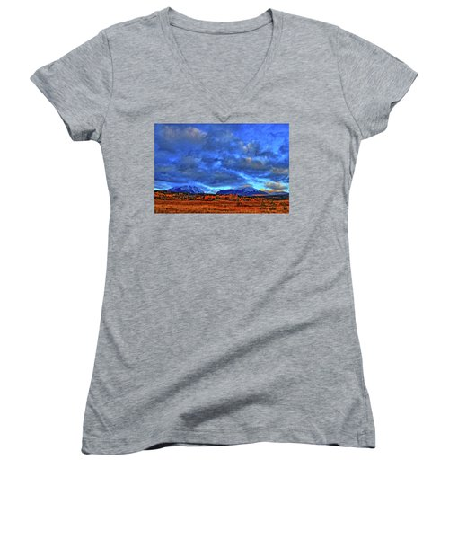 Women's V-Neck T-Shirt (Junior Cut) featuring the photograph Ten Mile Of Fall Colors by Scott Mahon
