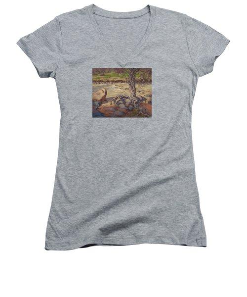 Tenacity Women's V-Neck T-Shirt (Junior Cut) by Jane Thorpe