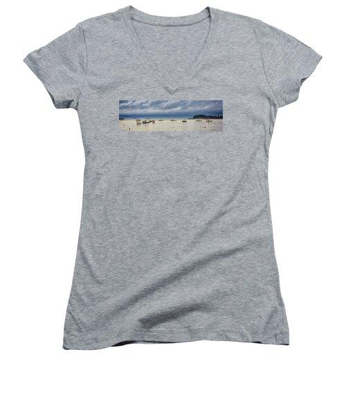 Women's V-Neck T-Shirt (Junior Cut) featuring the photograph Tenants Harbor by Rick Berk