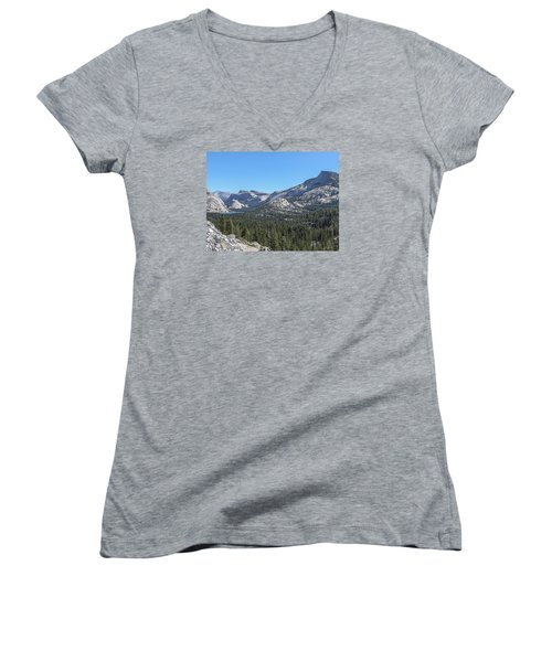 Tenaya Lake And Surrounding Mountains Yosemite National Park Women's V-Neck