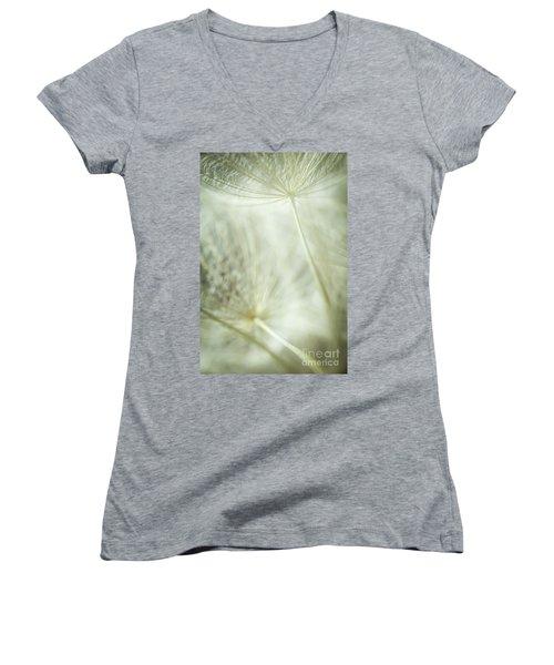 Tender Dandelion Women's V-Neck T-Shirt (Junior Cut) by Iris Greenwell