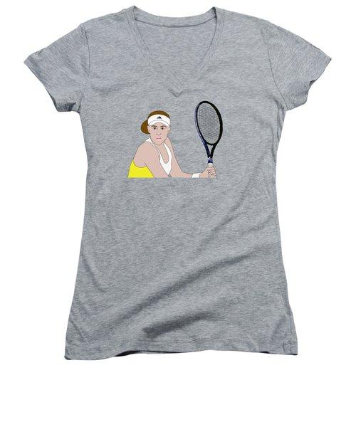 Tennis Player Women's V-Neck T-Shirt