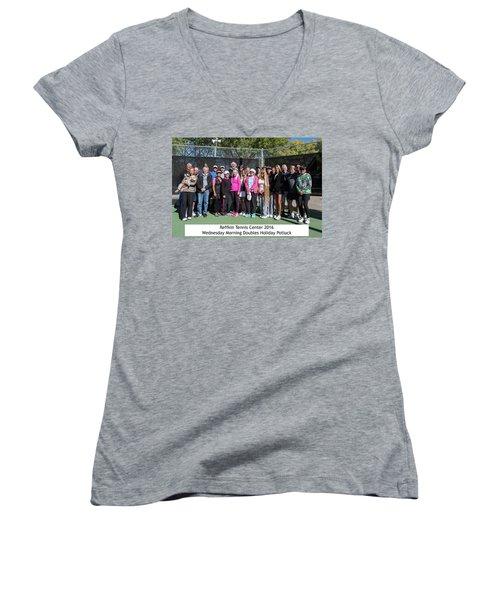 Women's V-Neck T-Shirt (Junior Cut) featuring the photograph Tennis Potluck Group Shot by Dan McManus