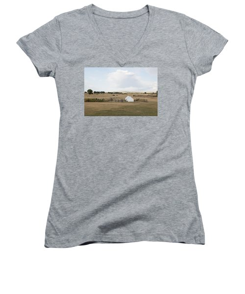 Tents At Fort Laramie National Historic Site In Goshen County Women's V-Neck T-Shirt (Junior Cut) by Carol M Highsmith