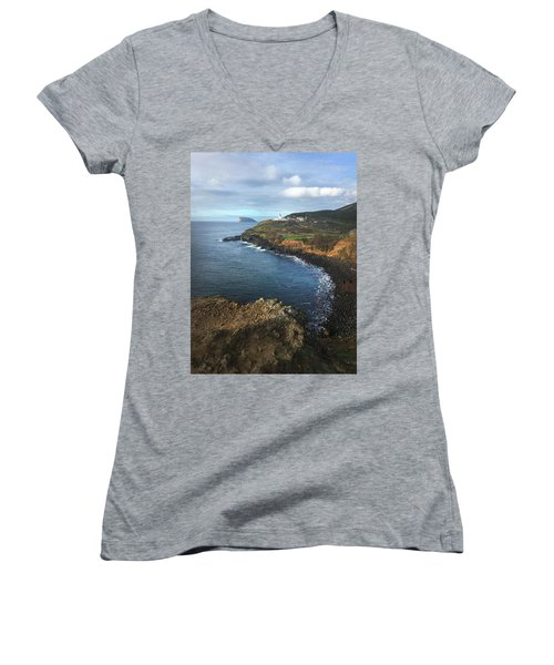 Terceira Island Coast With Ilheus De Cabras And Ponta Das Contendas Lighthouse  Women's V-Neck T-Shirt (Junior Cut) by Kelly Hazel