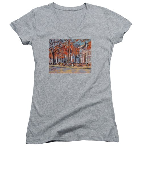Terrace In The Grand Tanners Street Maastricht Women's V-Neck T-Shirt (Junior Cut) by Nop Briex