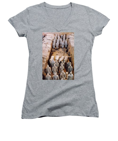 Women's V-Neck T-Shirt (Junior Cut) featuring the photograph Terracotta Army by Heiko Koehrer-Wagner