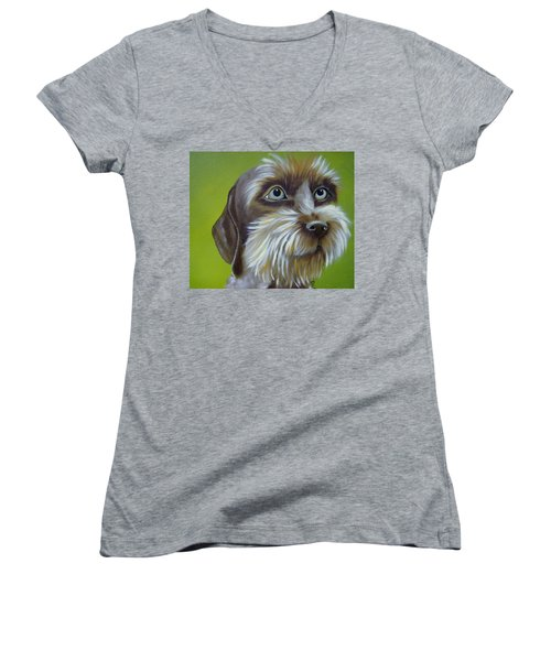 Terrier Waiting Patiently Women's V-Neck (Athletic Fit)