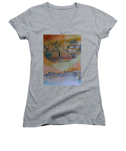 Test Flight Women's V-Neck T-Shirt (Junior Cut) by Ray Agius