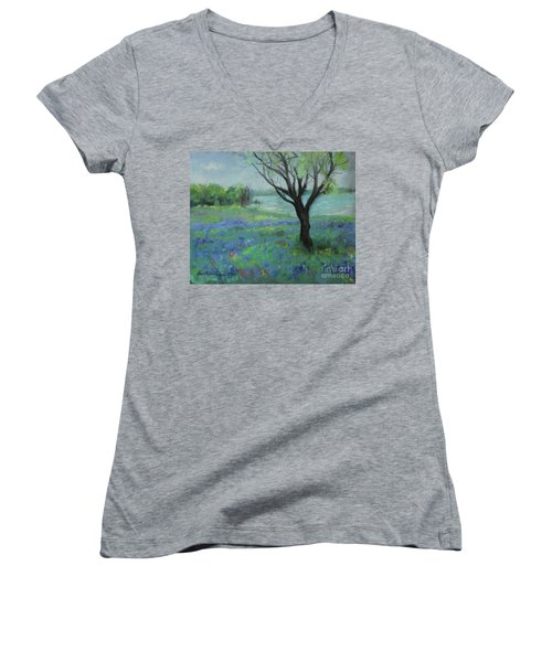 Women's V-Neck T-Shirt featuring the painting Texas Bluebonnet Trail by Robin Maria Pedrero
