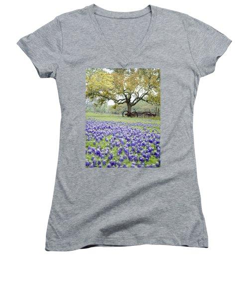 Texas Bluebonnets And Rust Women's V-Neck T-Shirt
