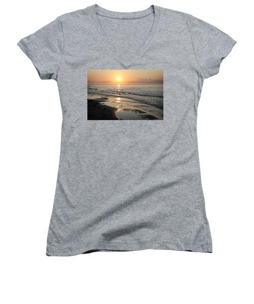 Texas Gulf Coast At Sunrise Women's V-Neck T-Shirt (Junior Cut) by Marilyn Hunt