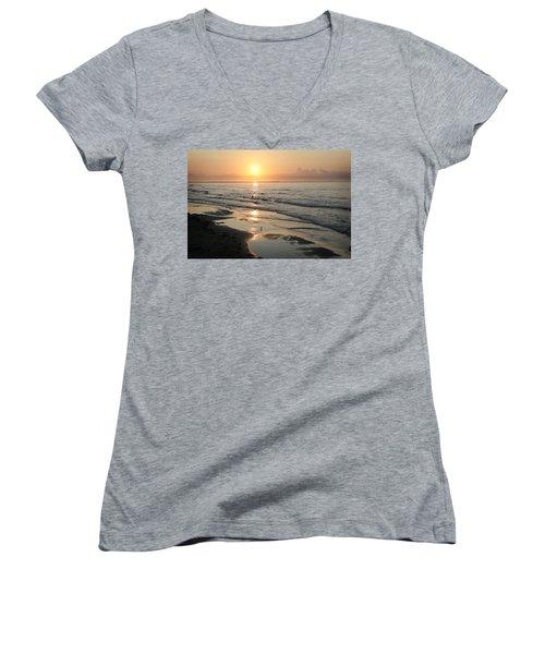 Texas Gulf Coast At Sunrise Women's V-Neck