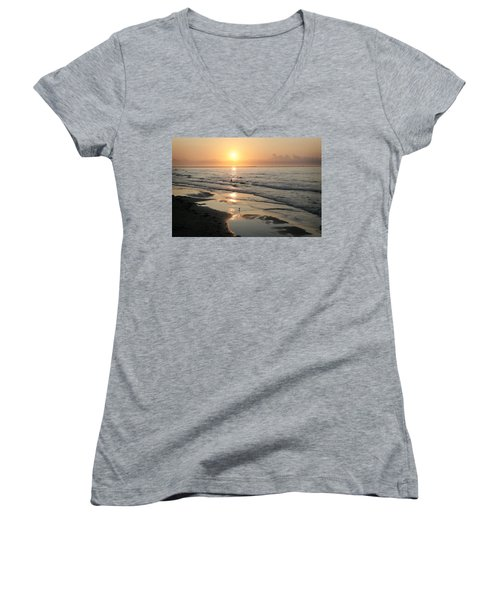 Texas Gulf Coast At Sunrise Women's V-Neck (Athletic Fit)