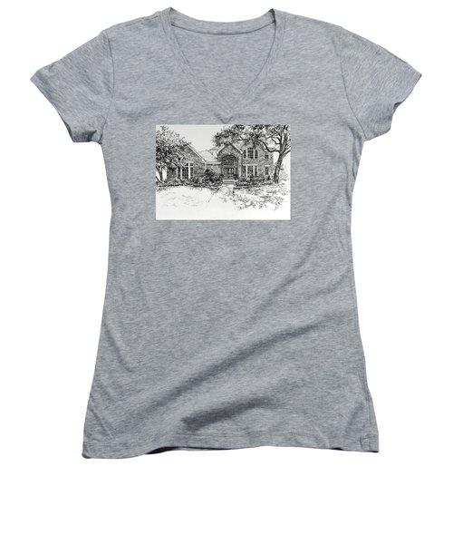 Women's V-Neck (Athletic Fit) featuring the painting Texas House Portrait 4 by Hanne Lore Koehler