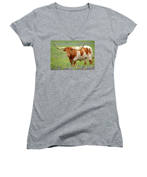 Texas Longhorn Standing In Bluebonnets Women's V-Neck T-Shirt