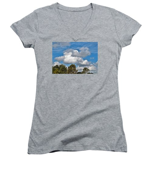 Women's V-Neck T-Shirt (Junior Cut) featuring the photograph Texas - Reach For The Sky.   by Ray Shrewsberry