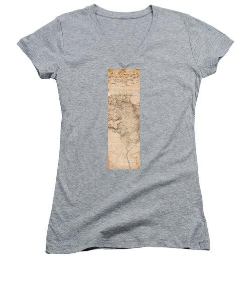 Texas Revolution Santa Anna 1835 Map For The Battle Of San Jacinto  Women's V-Neck T-Shirt