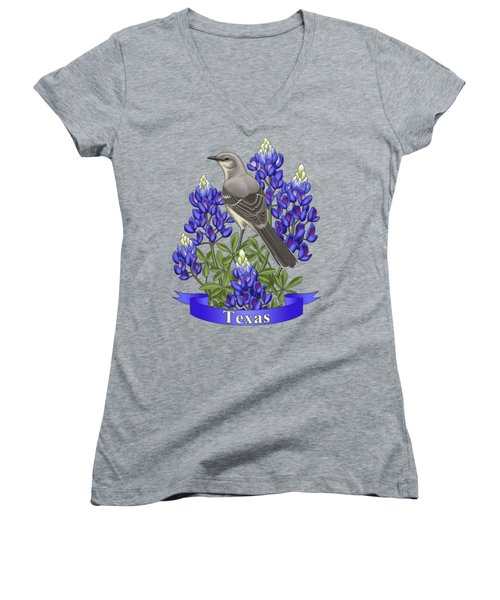 Texas State Mockingbird And Bluebonnet Flower Women's V-Neck T-Shirt (Junior Cut) by Crista Forest