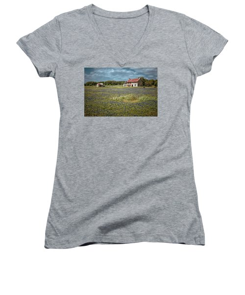 Women's V-Neck T-Shirt (Junior Cut) featuring the photograph Texas Stone House by Linda Unger