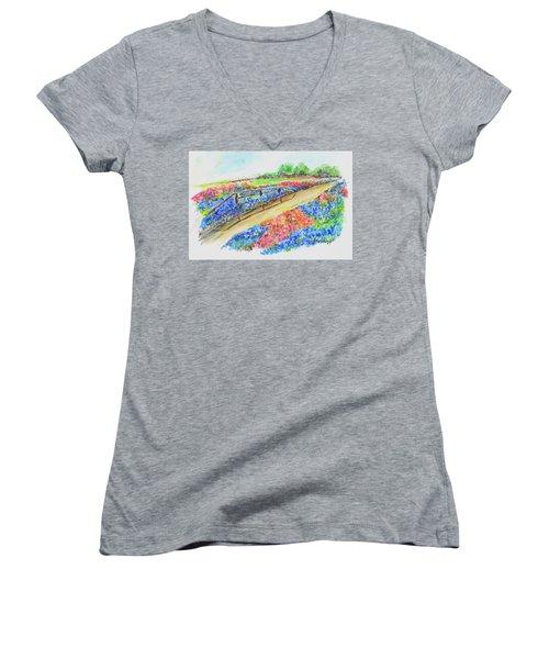 Texas Wild Flowers Women's V-Neck T-Shirt