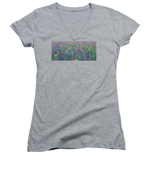 Texas Wildflowers Abstract Women's V-Neck