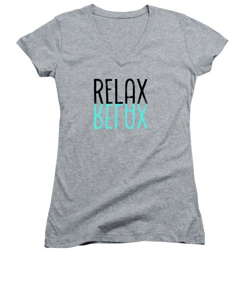 Text Art Relax - Cyan Women's V-Neck T-Shirt (Junior Cut) by Melanie Viola