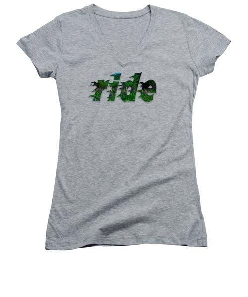 Text Lupen Ride Women's V-Neck T-Shirt (Junior Cut) by Mim White