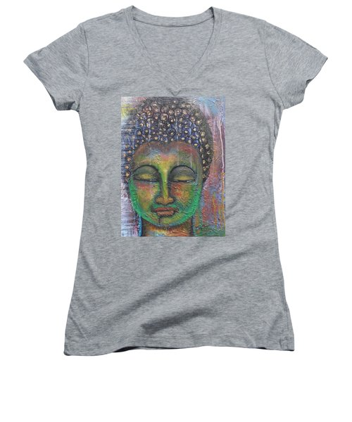 Textured Green Buddha Women's V-Neck T-Shirt (Junior Cut) by Prerna Poojara