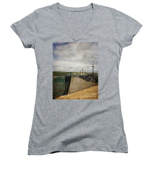 Women's V-Neck T-Shirt (Junior Cut) featuring the photograph Textures On Swanage Pier by Linsey Williams