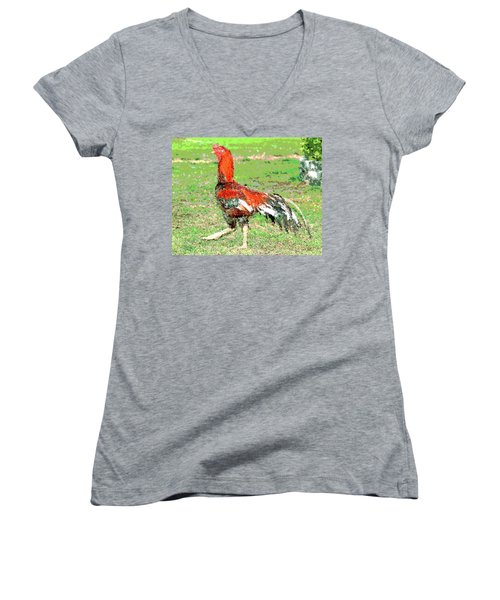 Thai Fighting Rooster Women's V-Neck T-Shirt (Junior Cut) by Charles Shoup