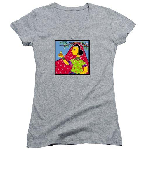 Thamasoma Jyothirgamaya Women's V-Neck T-Shirt (Junior Cut) by Latha Gokuldas Panicker