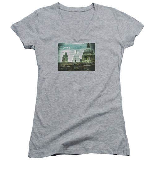Thamesscape 2 -  Ghosts Of London Women's V-Neck (Athletic Fit)