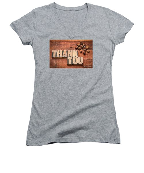 Than You Typography In Wood Type Women's V-Neck