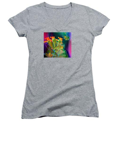 Thanksgiving Bouquet Women's V-Neck T-Shirt (Junior Cut) by Iris Gelbart