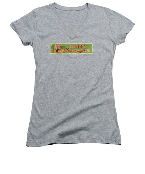 Women's V-Neck T-Shirt (Junior Cut) featuring the painting Thanksgiving-c by Jean Plout