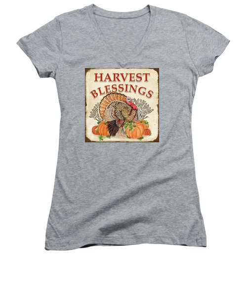 Women's V-Neck T-Shirt (Junior Cut) featuring the painting Thanksgiving-e by Jean Plout