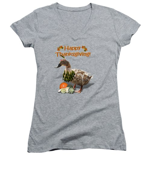 Thanksgiving Indian Duck Women's V-Neck T-Shirt (Junior Cut) by Gravityx9 Designs