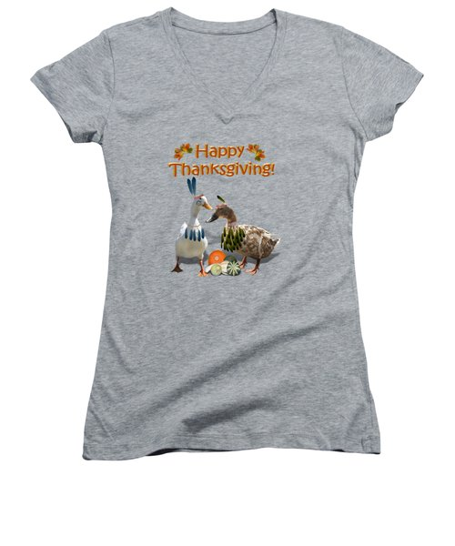 Thanksgiving Indian Ducks Women's V-Neck T-Shirt (Junior Cut) by Gravityx9  Designs