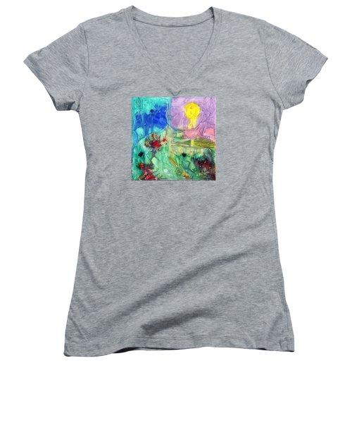 Thanksgiving Women's V-Neck T-Shirt (Junior Cut) by Phil Strang
