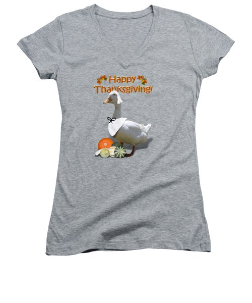Thanksgiving Pilgrim Duck Women's V-Neck T-Shirt