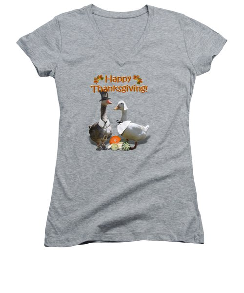 Thanksgiving Pilgrim Ducks Women's V-Neck T-Shirt (Junior Cut) by Gravityx9 Designs