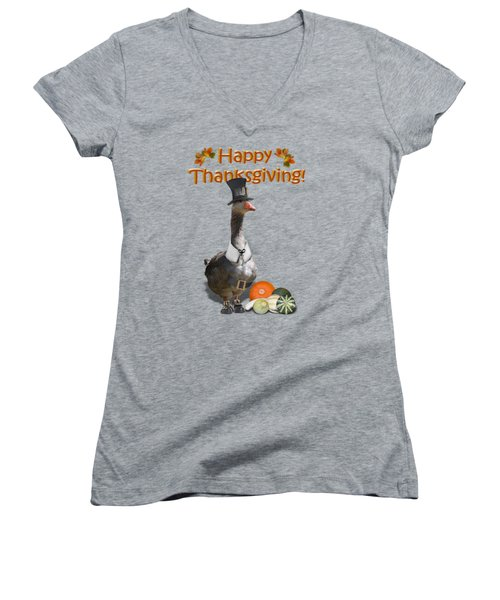 Thanksgiving Pilgrim Goose Women's V-Neck T-Shirt