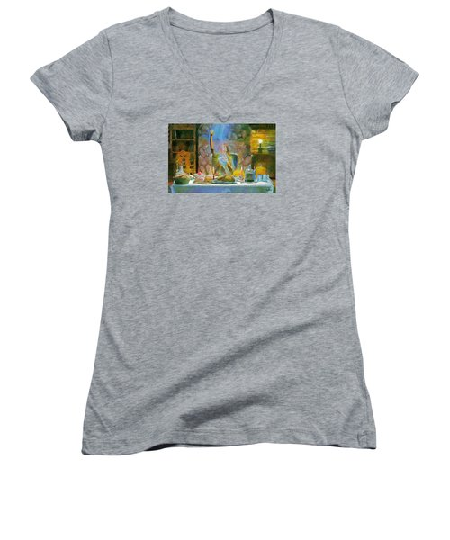 Women's V-Neck T-Shirt (Junior Cut) featuring the painting Thanksgiving by Wayne Pascall