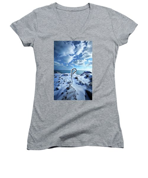 Women's V-Neck T-Shirt (Junior Cut) featuring the photograph That One Weird Thing by Phil Koch