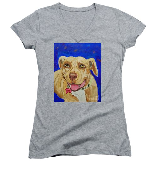 Women's V-Neck T-Shirt (Junior Cut) featuring the painting That Smile by Ania M Milo