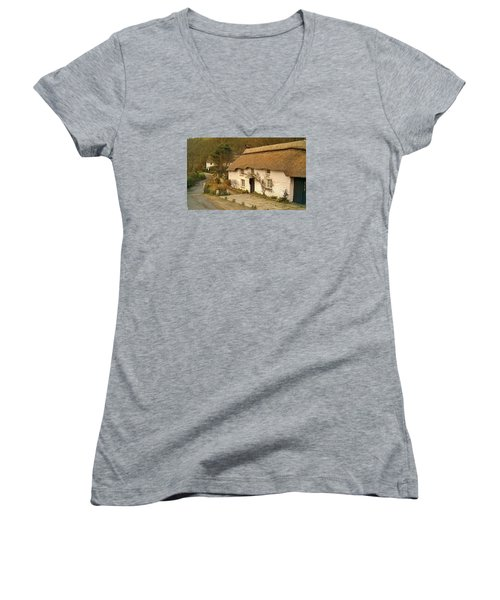 Thatched Cottage By Ford  Women's V-Neck T-Shirt (Junior Cut) by Richard Brookes