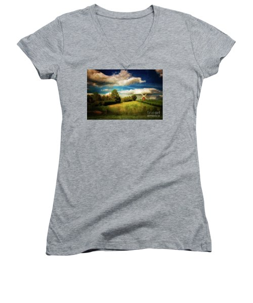Thaxted With Millpond Women's V-Neck T-Shirt (Junior Cut) by Jack Torcello