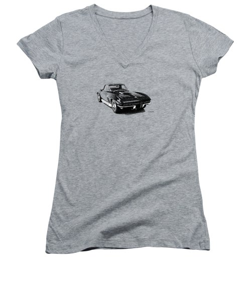 The 66 Vette Women's V-Neck T-Shirt (Junior Cut) by Mark Rogan